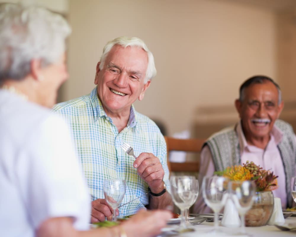 Residents enjoy restaurant-style meals at The Atrium in Rockford, Illinois.