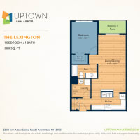 The Lexington floor plan image at Uptown Ann Arbor in Ann Arbor, Michigan