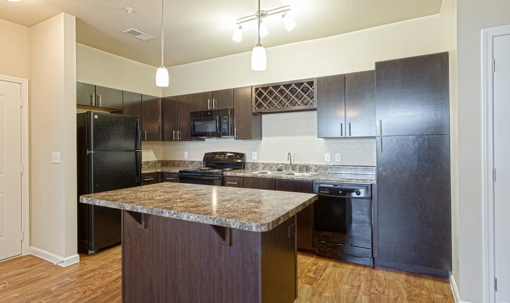 Kitchen island at Springs at South Broadway