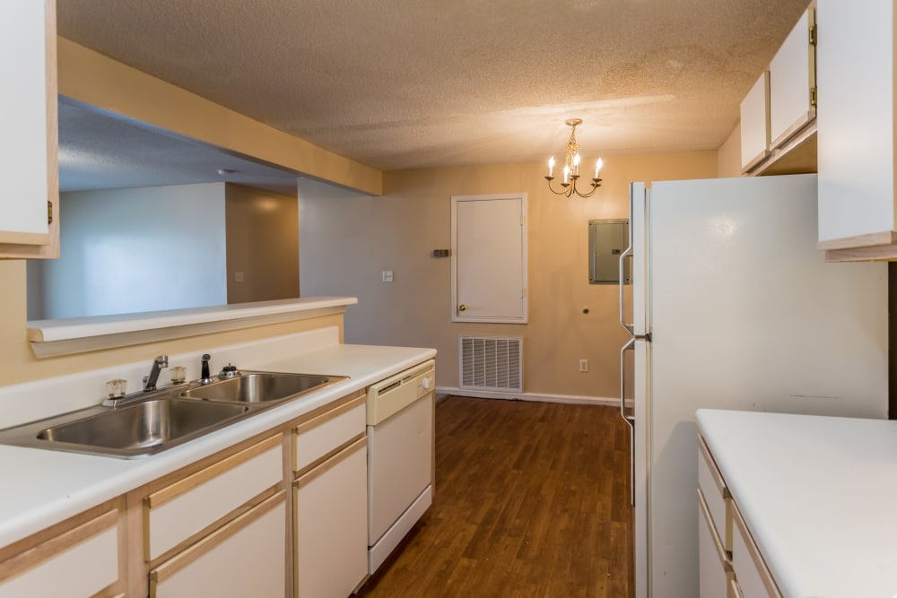Plenty of counter space in an apartment kitchen at Park Ridge Apartments in Jackson, Tennessee