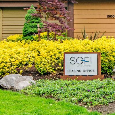 Professionally maintained landscaping outside the leasing center at Sofi Lake Oswego in Lake Oswego, Oregon