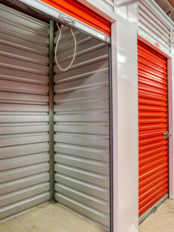 Inside of a climate-controlled storage unit in Pasadena, Texas at Devon Self Storage