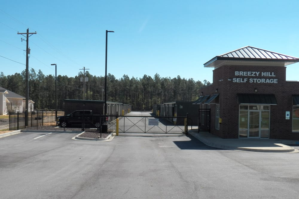 Main office entrance at Breezy Hill Self Storage in Graniteville, South Carolina
