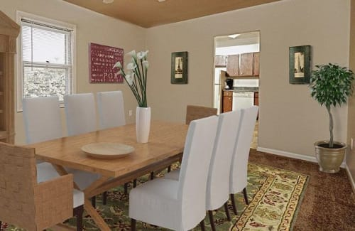 Well decorated dining room at The Village of Laurel Ridge & The Encore Apartments & Townhomes in Harrisburg, Pennsylvania