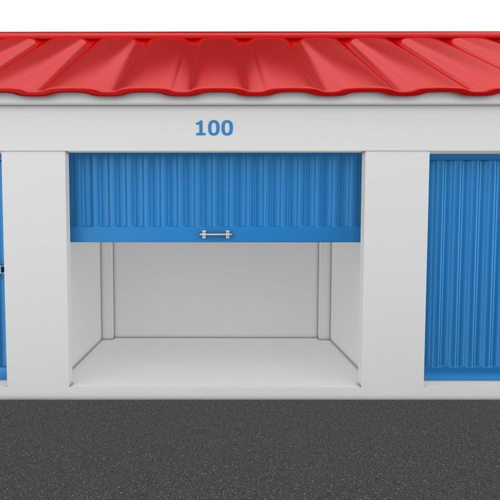 An open storage unit at Trojan Storage in Vancouver, Washington