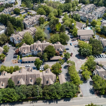 Aerial photo of the property and surrounding landscape of Olin Fields Apartments in Everett