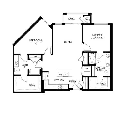 Two bedroom B4: 1295 sq. ft. at Avenida Cool Springs in Franklin