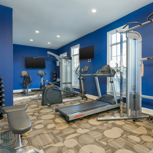 View virtual tour of the fitness center at The Parke at Oakley in Fairburn, Georgia