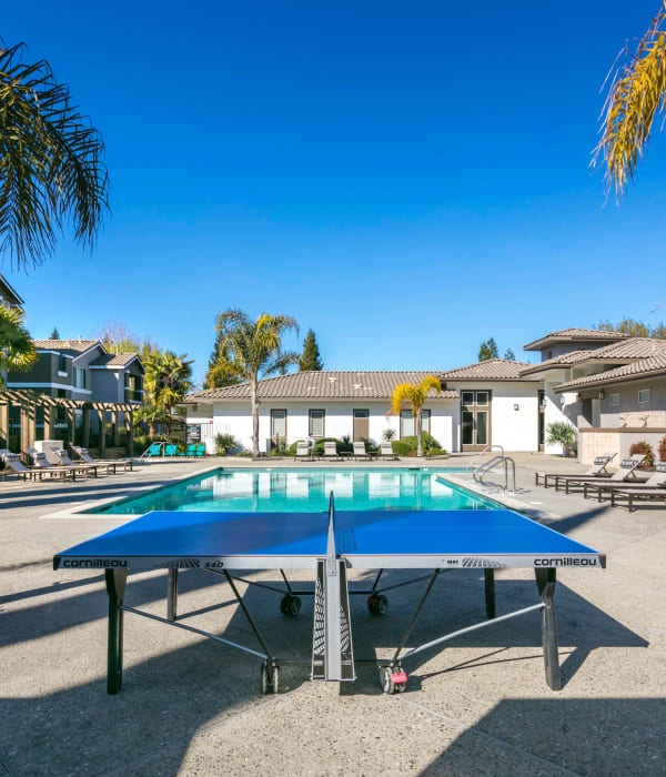 Table tennis poolside at Miramonte and Trovas in Sacramento, California