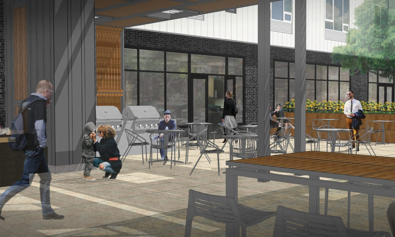Courtyard view rendering of Grant Park Village - Quimby facing game room in Portland, OR