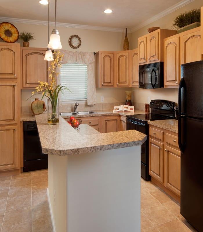 Kitchen layout at Keys Lake Villas in Key Largo, Florida
