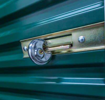Lock on a storage unit at Neighborhood Storage in Belleview, Florida