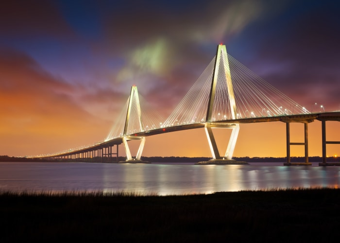 Bridge with a sunset at 511 Meeting in Charleston, South Carolina