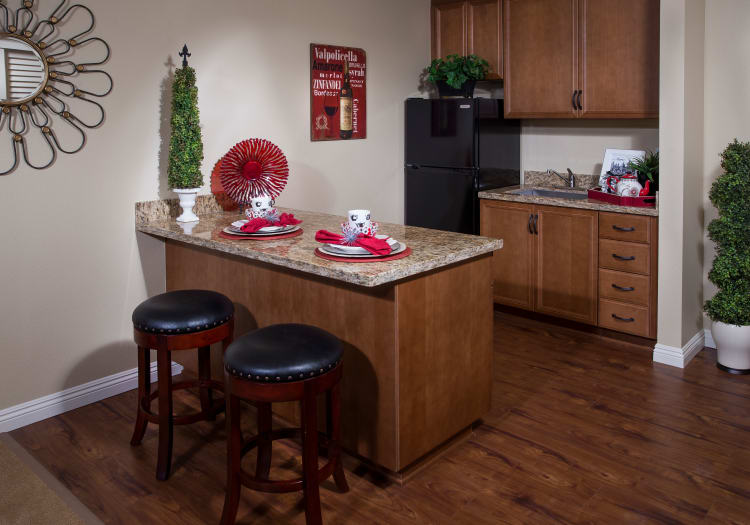 Kitchenette at Estancia Del Sol in Corona, California