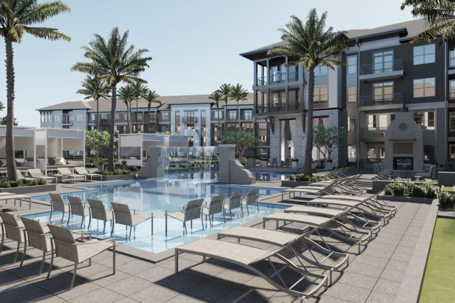 Luxury swimming pool at The Jaxon in Jacksonville, Florida