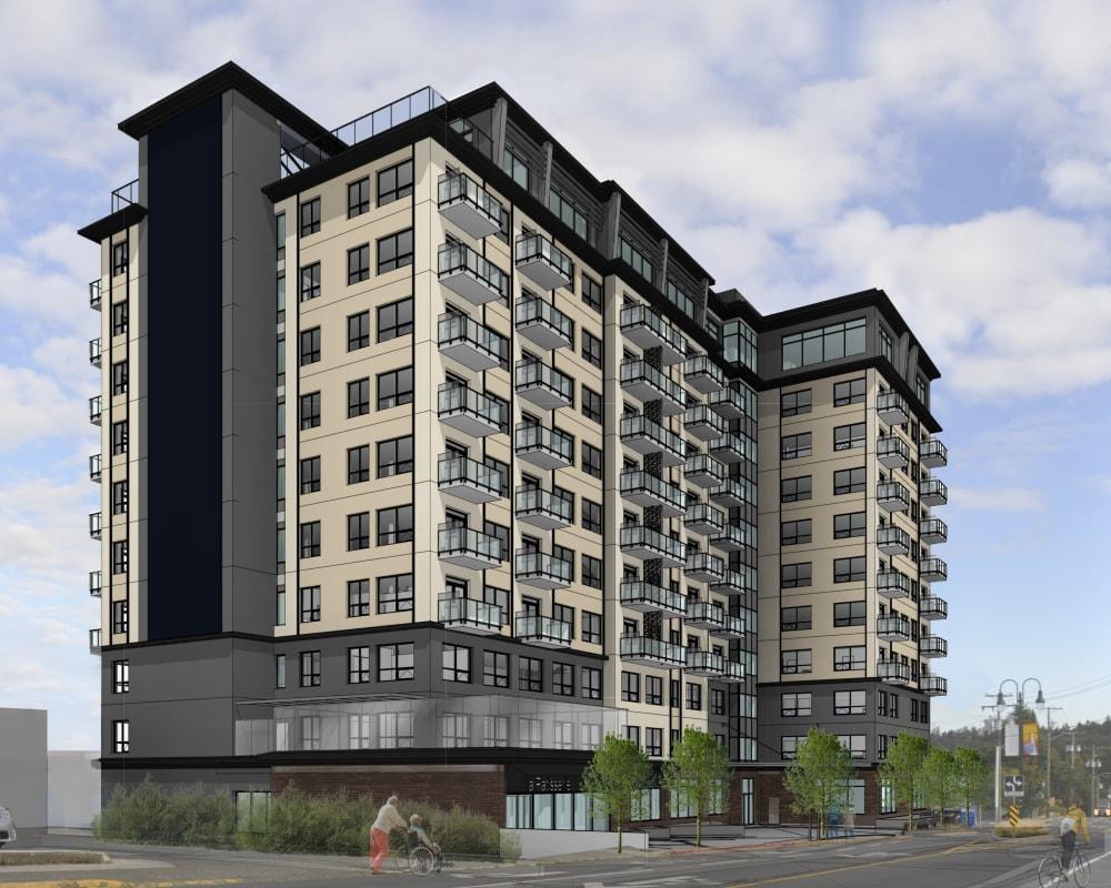 Exterior rendering of new community, The Vista in Esquimalt, British Columbia.