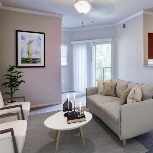 Living room at Hawthorn Village Apartments in Napa, California