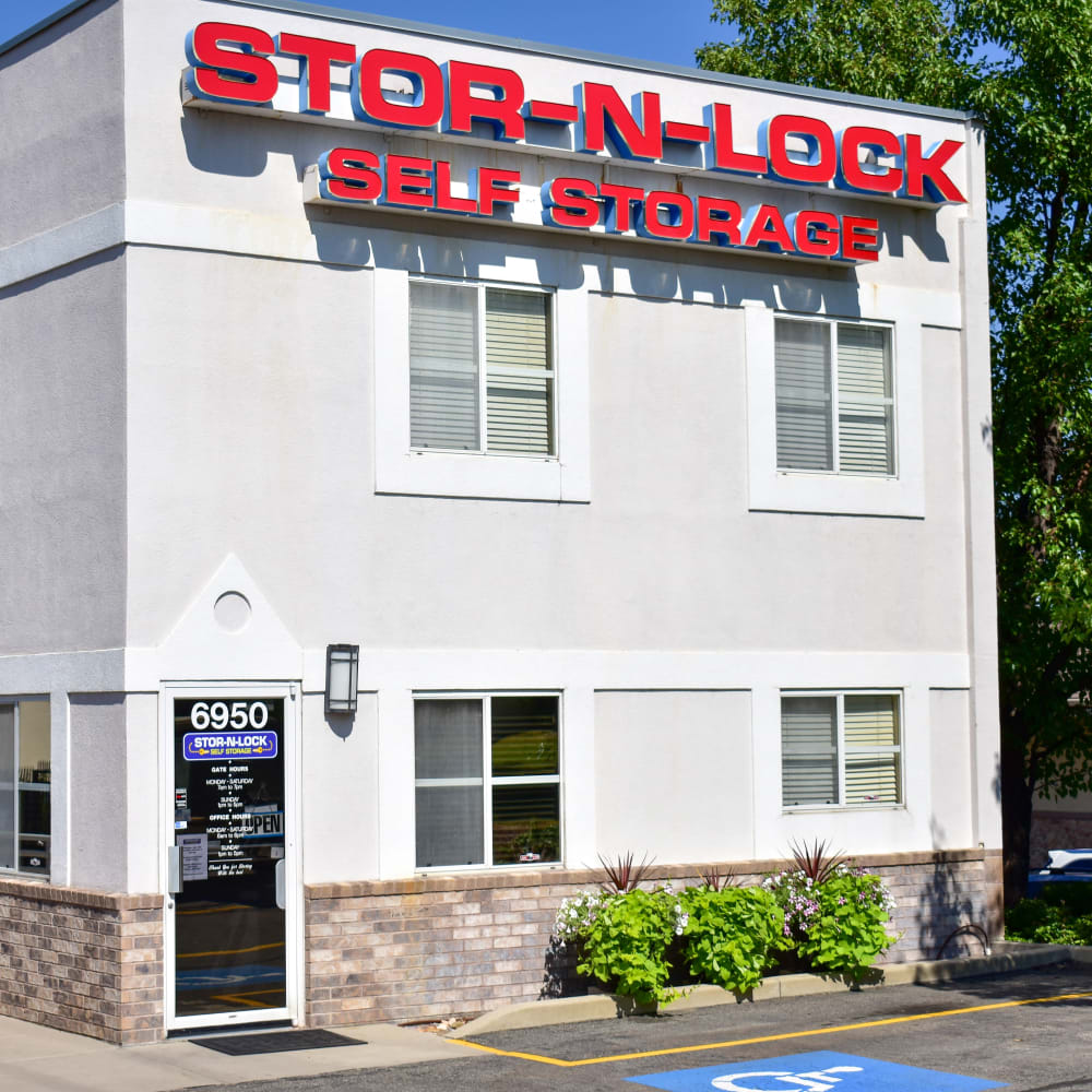 The front door at STOR-N-LOCK Self Storage in Cottonwood Heights, Utah