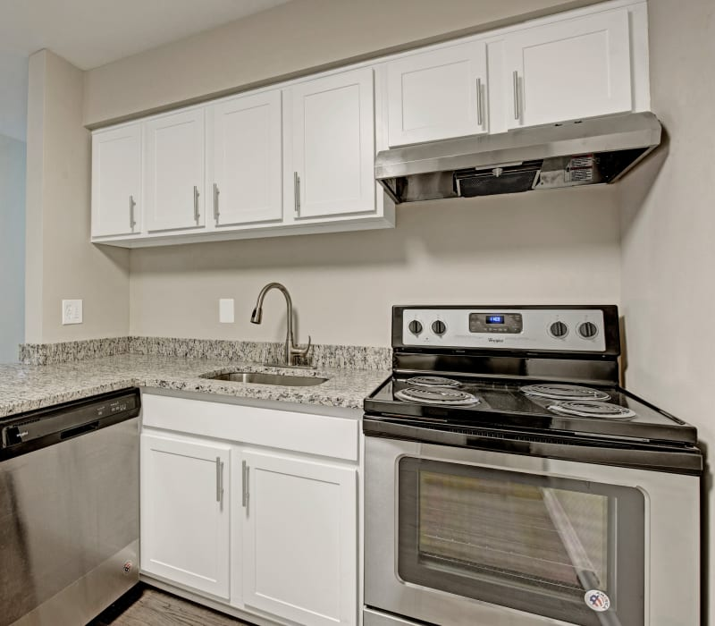 Kitchen with stainless steel appliances at Ridgeview at Wakefield Valley in Westminster, Maryland
