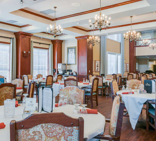 A well decorated dining room at Town Village in Oklahoma City, Oklahoma