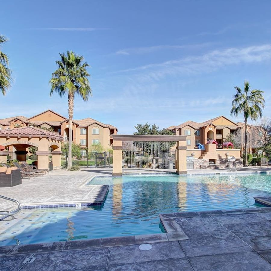 Resort-style swimming pool at Tierra Pointe in Casa Grande, Arizona