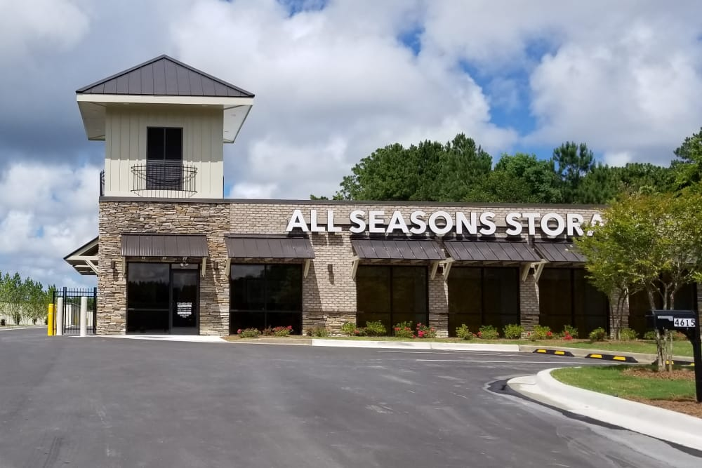 Exterior view of All Seasons Self Storage in Wilmington,North Carolina