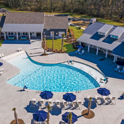 Gorgeous swimming pool at South City Apartments in Summerville, South Carolina