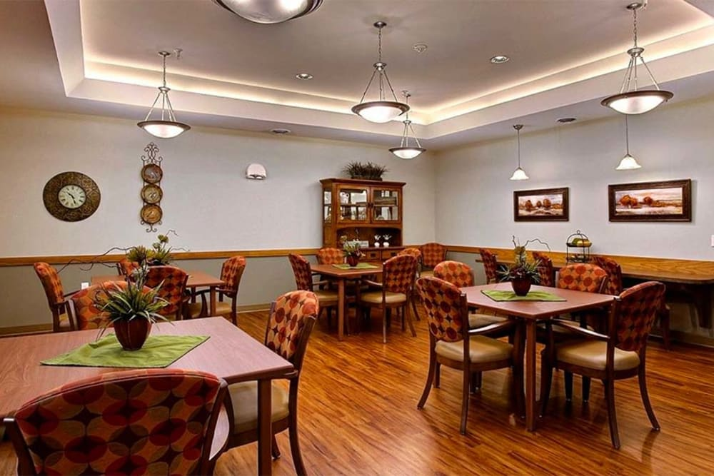 Resident dining room at Milestone Senior Living in Hillsboro, Wisconsin