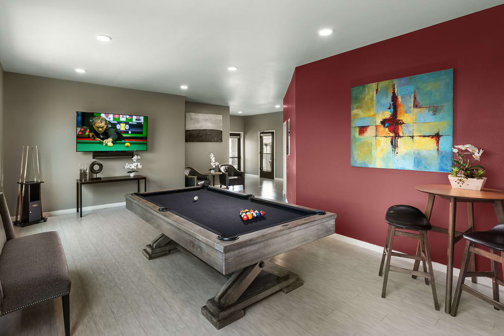 Billiards room and social area at The Maxx 159 in Goodyear, Arizona