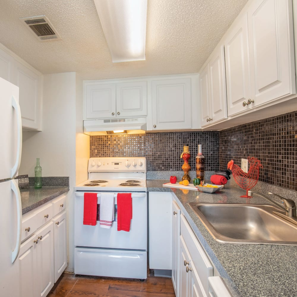 A kitchen with plenty of cabinet space at Southern Cove Apartments in Temple Terrace, Florida