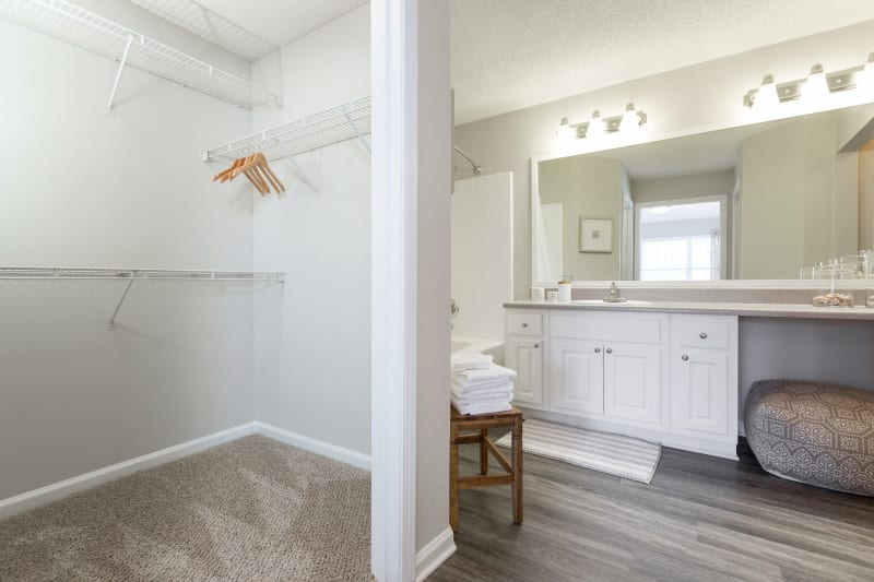 Bathroom with walk in closet at Belle Vista Apartment Homes in Lithonia, Georgia