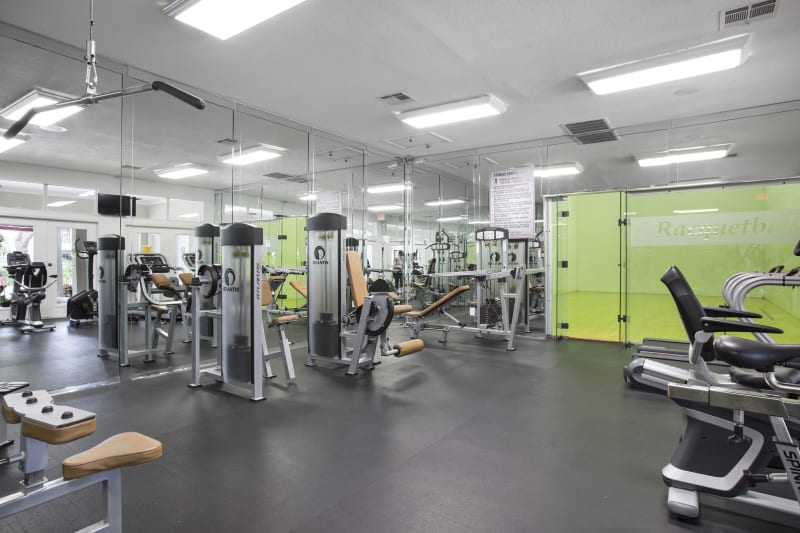 Very well-equipped onsite fitness center at Lago Paradiso at the Hammocks in Miami, Florida