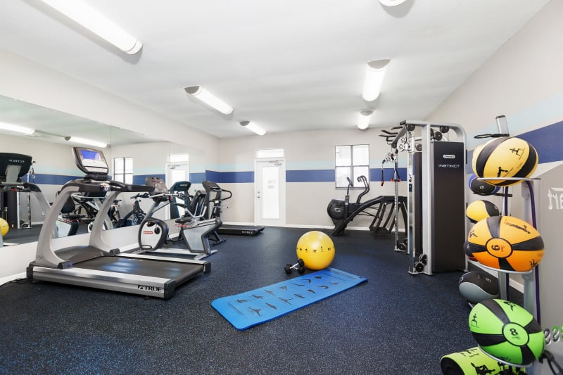 Well-equipped fitness center at WestEnd At 76Ten in Tampa, Florida