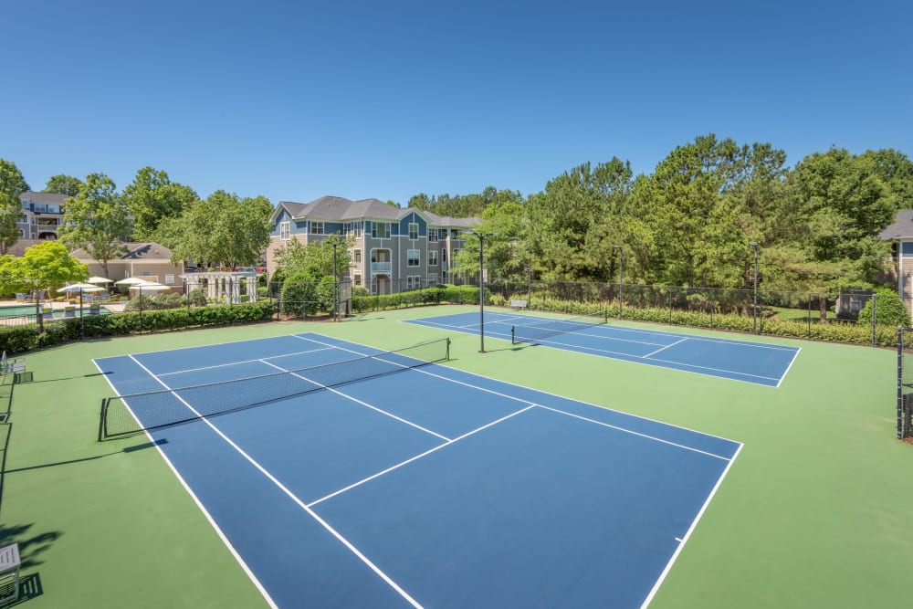 Well-maintained tennis courts at The Mark in Raleigh, North Carolina