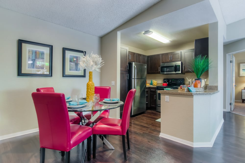 Spacious dining room and kitchen at Tuscany Village Apartments in Ontario, California