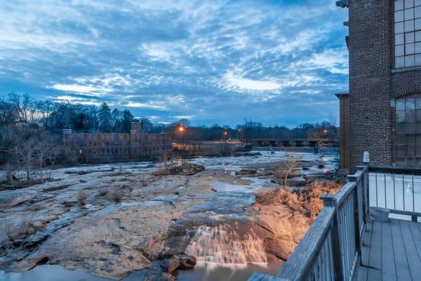 River outside of Porterdale Mill Lofts in Porterdale, Georgia