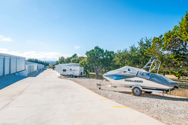 Boat and RV parking at Lockaway Storage in Boerne, Texas