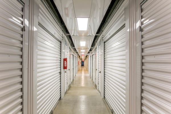 Interior self storage units for rent at Lockaway Storage in San Antonio, Texas