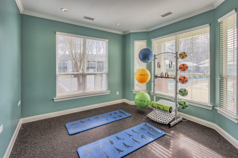 Yoga room with other exericise equipment at The Madison in Charlotte, North Carolina