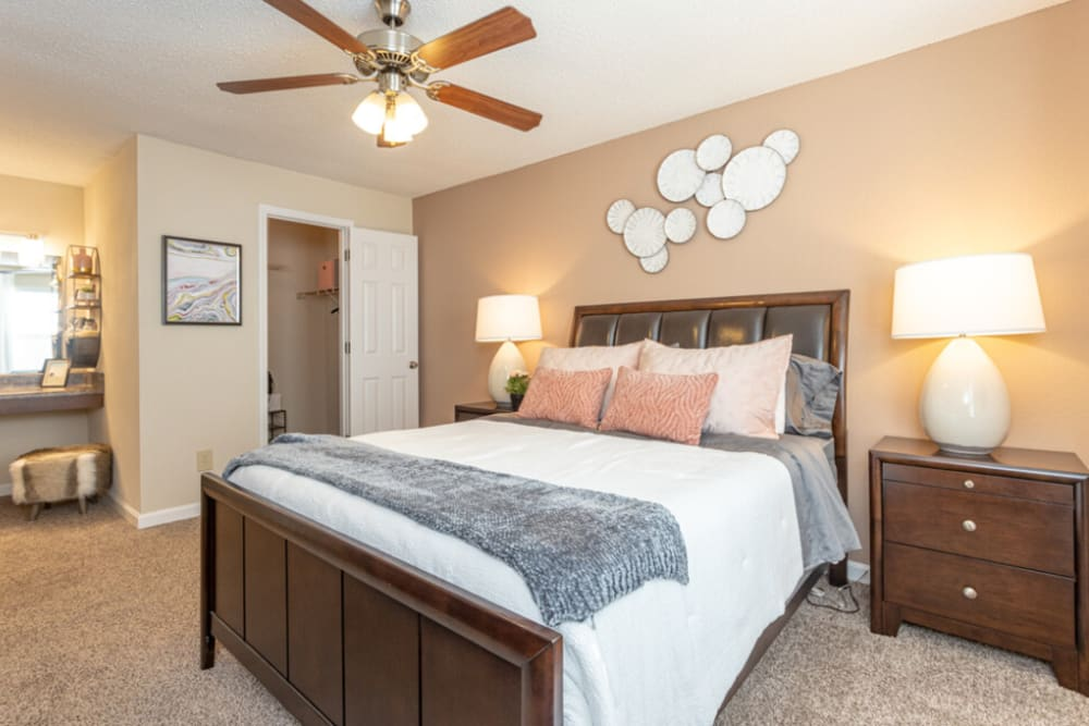 Enjoy a cozy bedroom at The Abbey at Riverchase apartments