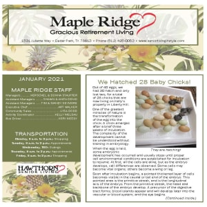 January newsletter at Maple Ridge Gracious Retirement Living in Cedar Park, Texas