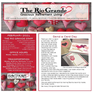 February newsletter at The Rio Grande Gracious Retirement Living in Rio Rancho, New Mexico