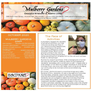 October newsletter at Mulberry Gardens Assisted Living in Munroe Falls, Ohio