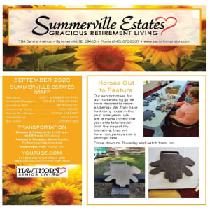 September newsletter at Summerville Estates Gracious Retirement Living in Summerville, South Carolina