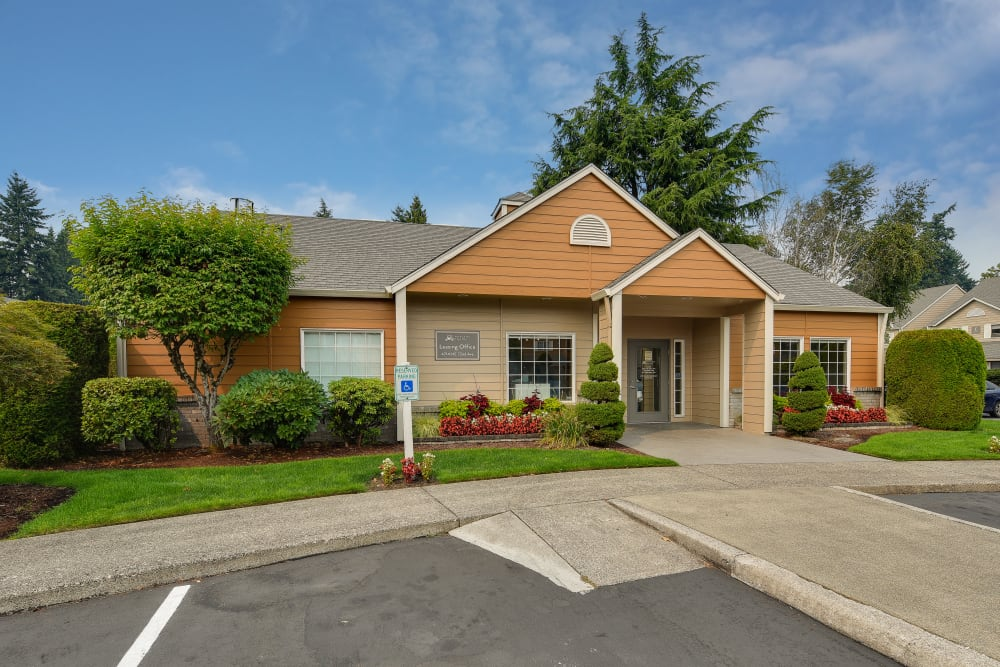 Front of the leasing office at Carriage House Apartments in Vancouver, Washington
