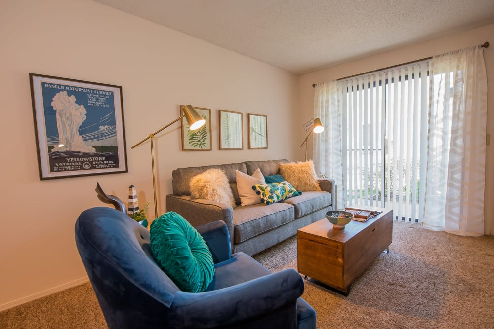 Beautiful living room at Silver Springs Apartments in Wichita, Kansas