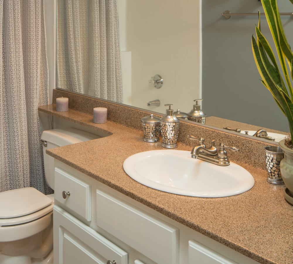 Kitchen with a large vanity mirror at Paloma Summit Condominium Rentals in Foothill Ranch, California