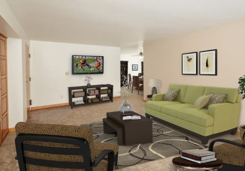 Spacious living room at Green Lake Apartments & Townhomes in Orchard Park, New York