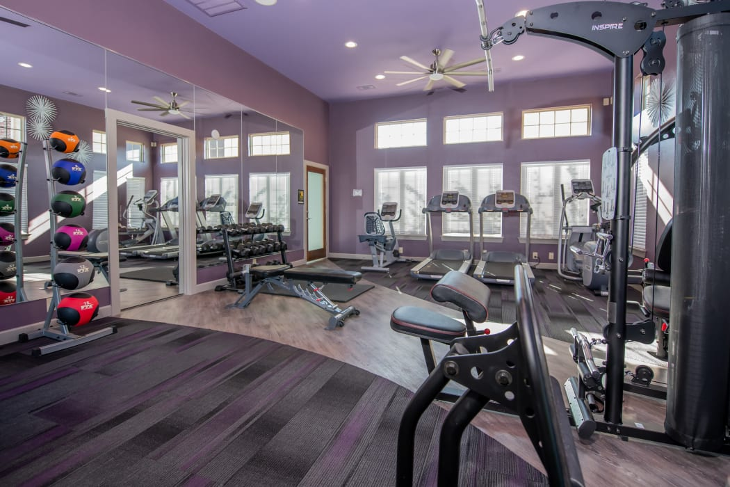 Fitness center for residents use at Portico at Friars Creek Apartments in Temple, Texas