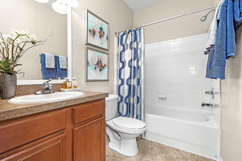 Model bathroom with oval tub at The Aspect in Kissimmee, Florida